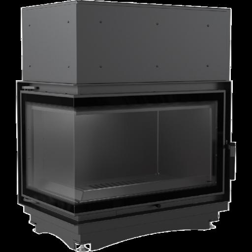 Топка с водяным контуром Oliwia/PW/BL/17/BS/W/DECO, Г-образное стекло слева, змеевик