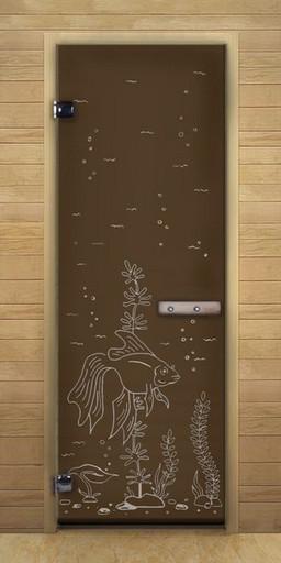 Дверь для бани бронза матовая Рыбка