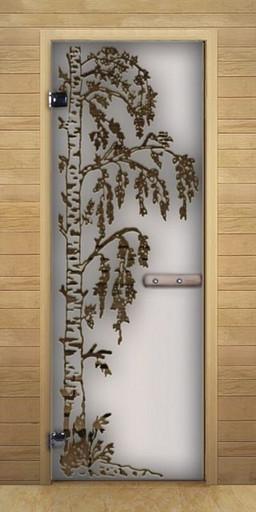Дверь для бани сатин Березка