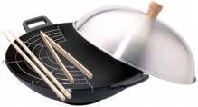 Сковорода Вок чугунная с алюминиевой крышкой