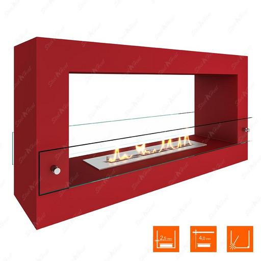Биокамин напольный SteelHeat FRAME 900 (Красный (Стекло))