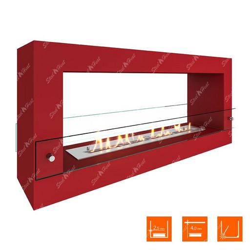 Биокамин напольный SteelHeat FRAME 1000 (Красный (Стекло))