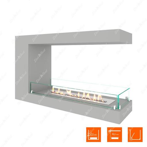 Биокамин торцевой SteelHeat LONG 900 (Белый (Стекло))