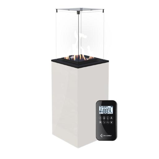 Газовый нагреватель PATIO/G31/37MBAR/B - белое стекло, с пультом ДУ