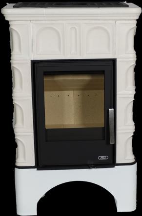 Керамическая печь BRITANIA KPI, белый цоколь, вставка КОМБО, с допуском воздуха извне