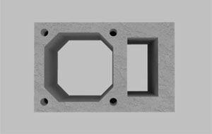 Блок из легкого бетона с вентиляционным каналом