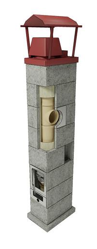 Одноходовая шамотная система с вентканалом DV=140 мм 12 пм