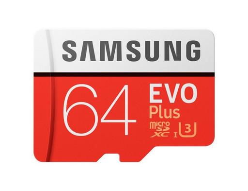 Карта памяти Samsung microSDXC EVO Plus UHS-I U3 64GB Class10 + SD adapter