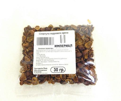 Скорлупа кедрового ореха, 30 гр.
