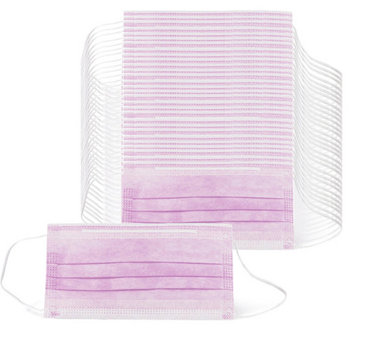 Маска одноразовая медицинская розовая 100 шт.