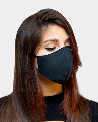 Многоразовая чёрная маска из хлопка (анатомической формы)