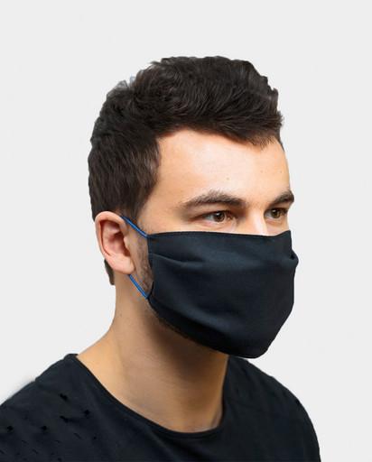 Многоразовая чёрная маска из хлопка (стандартной формы)