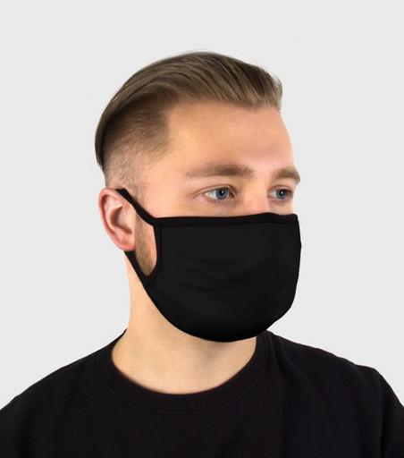 Многоразовая чёрная маска из хлопка (с широкой резинкой)