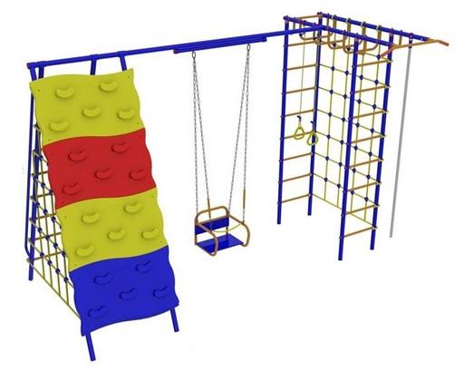 Детский спортивный комплекс «Веселый Непоседа» Модель №9 со скалодромом, качели на подшипниках
