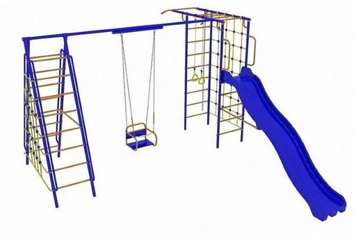 Детский спортивный комплекс «Веселый Непоседа» Модель №9 с горкой и двумя сетками для лазания (качели цепь/подшипник)