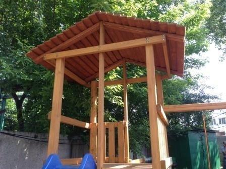 Деревянная крыша к детской деревянной площадке для дачи «Мадрид»