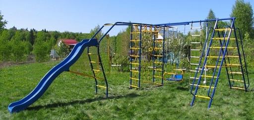 Детский спортивный комплекс «Веселый Непоседа» Модель №7 с качелями на подшипниках/цепях и горкой