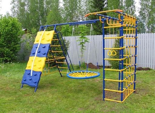 Уличный детский спортивный комплекс Модель №9 со скалодромом и качелями-гнездо