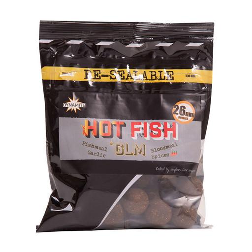 Бойлы тонущие DYNAMITE BAITS 26 мм. Hot Fish & GLM 350 гр.