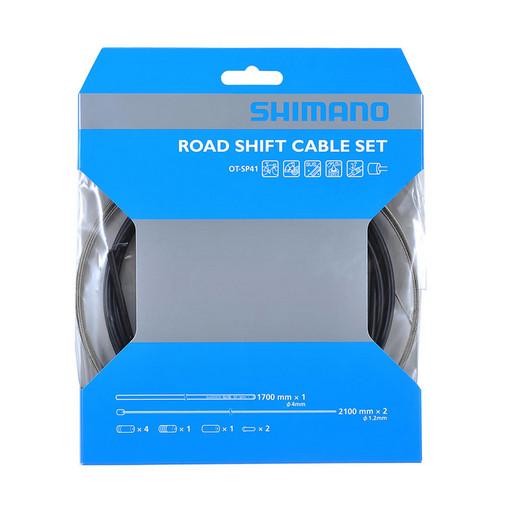 Трос+оплетка перекл Shimano, SP41, опл. 1700мм черн., тр:1.2X2100мм нерж. x (2шт), конц