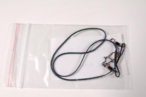 Поводок из кевларовой нити, 0.8 мм., 25 - 30 - 35 - 40 см., нагрузка фурнитуры от 32 кг до 52 - вертлюг с застёжкой