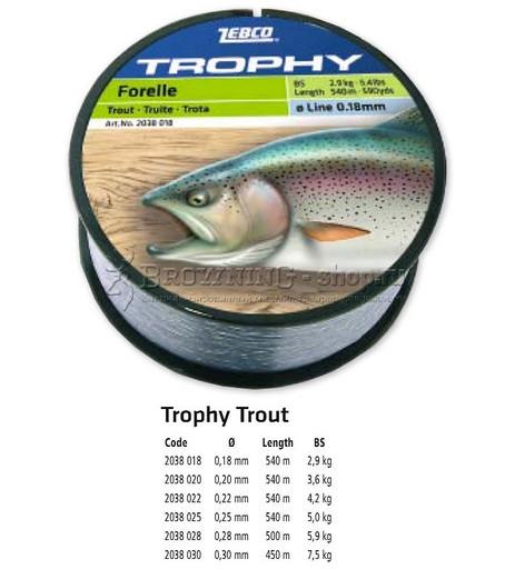 Леска Trophy 540 m 0.20 форель Zebco