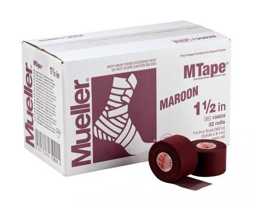 Тейп бордовый Mueller 130828 MTape Athletic Tape 3,8 см х 9,1 м (32 рулона)