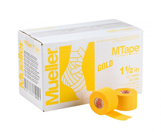 Тейп желтый Mueller 130823 MTape Athletic Tape 3,8 см х 9,1 м (32 рулона)