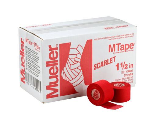 Тейп алый Mueller 130822 MTape Athletic Tape 3,8 см х 9,1 м (32 рулона)