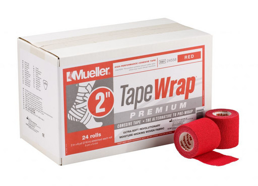 Тейп самозакрепляющийся красный Mueller 24558 TapeWrap Premium 5 см х 5,4 м (24рулона)