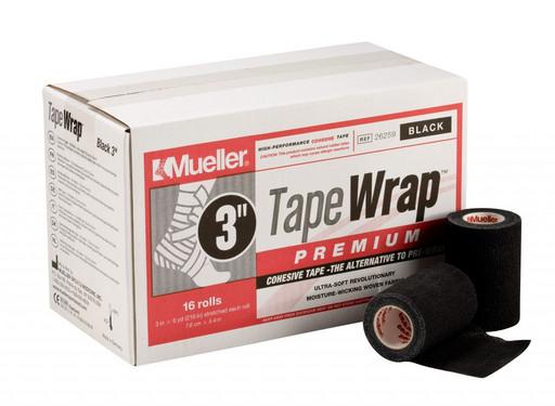 Тейп самозакрепляющийся черный Mueller 26259 TapeWrap Premium 7,6 см х 5,4 м (16рулонов)