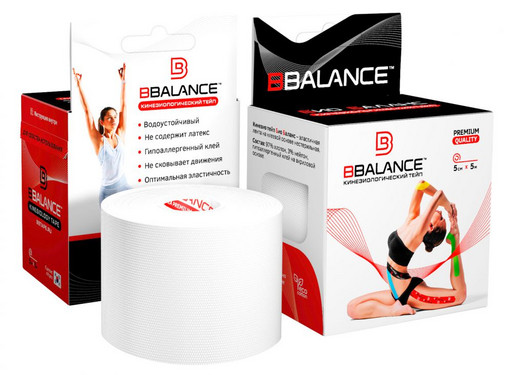 Тейп BBTape Bio Balance Kinesiology Tape белый 5см х 5м