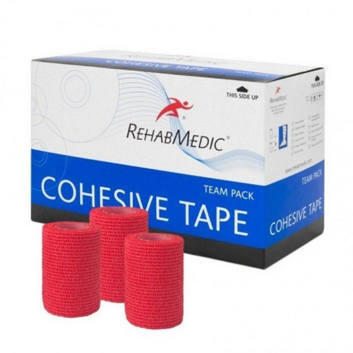 Тейп самозакрепляющийся красный RehabMedic Cohesive Tape 7,5 см х 4,6 м (20 рулонов)