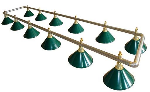 Лампа на двенадцать плафонов «Evergreen» (серебристо-золотистая штанга, зеленый плафон D35см)