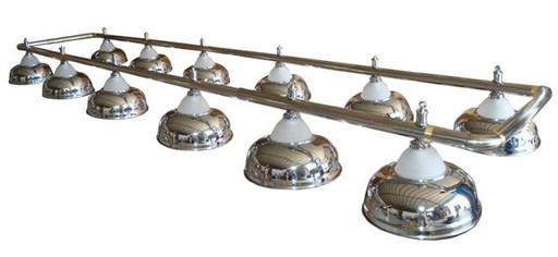 Лампа на двенадцать плафонов «Crown» (серебристая штанга, серебристый плафон D38см)