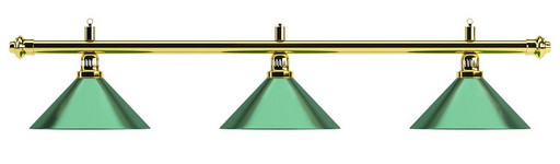 Лампа на три плафона «Evergreen» (золотистая штанга, зеленый плафон D35см)