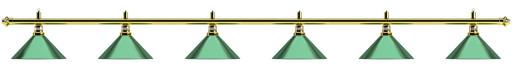 Лампа на шесть плафонов «Evergreen» (золотистая штанга, зеленый плафон D35см)