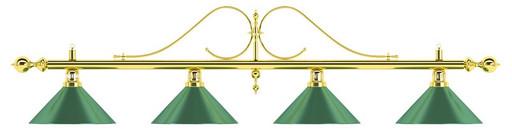 Лампа на четыре плафона «Classic» (витая золотистая штанга, зеленый плафон D35см)