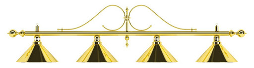Лампа на четыре плафона «Classic» (витая золотистая штанга, золотистый плафон D35см)