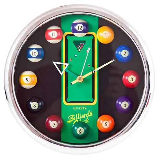 Часы настенные «12 шаров» D27 см (хром), пластик