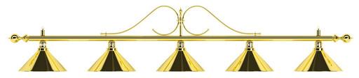 Лампа на пять плафонов «Classic» (витая золотистая штанга, золотистый плафон D35см)