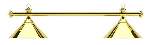 Лампа на два плафона «Elegance» (золотистая штанга, золотистый плафон D35см)