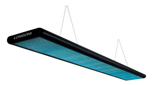 Лампа плоская люминесцентная «Longoni Nautilus» (черная, бирюзовый отражатель, 205x31x6см)