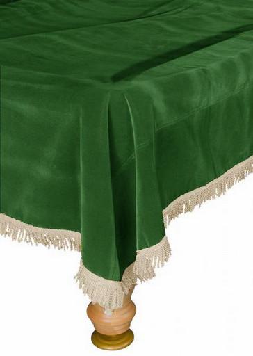 Покрывало для стола 9 ф (бархат, зеленое/бежевая бахрома)