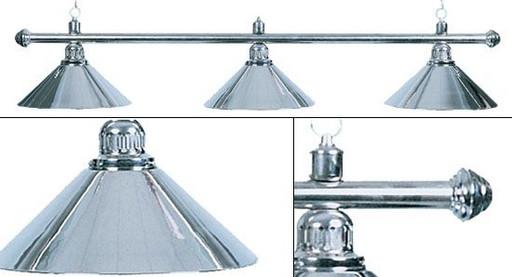 Лампа на три плафона «Elegance» (серебристая штанга, серебристый плафон D35см)