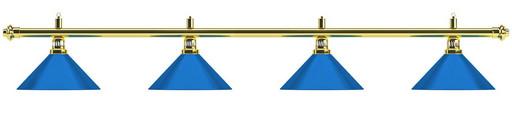Лампа на четыре плафона «Blue Light» (золотистая штанга, синий плафон D35 см)