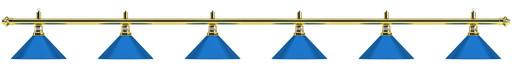 Лампа на шесть плафонов «Blue Light» (золотистая штанга, синий плафон D35см)