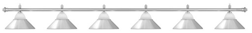 Лампа на шесть плафонов «Jazz» (серебристая штанга, серебристый плафон D38см)