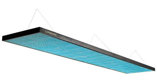 Лампа плоская люминесцентная «Longoni Magnum»(черная, бирюзовый отражатель, 287х62х6см)