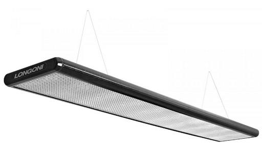 Лампа плоская люминесцентная «Longoni Nautilus» (черная, серебристый отражатель, 247x31x6см)